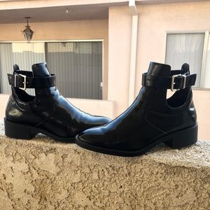 Patent Leather ankle boots with cut outs!